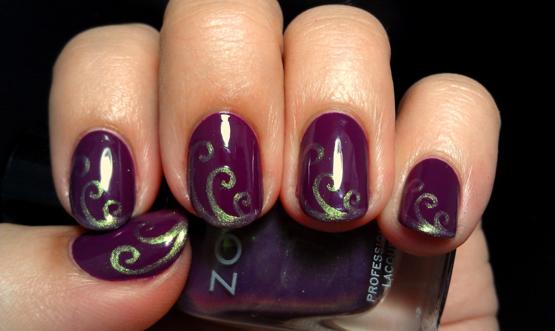 Purple Swirls Zoya Nail Art 3