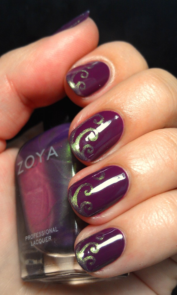 Purple Swirls Zoya Nail Art 2