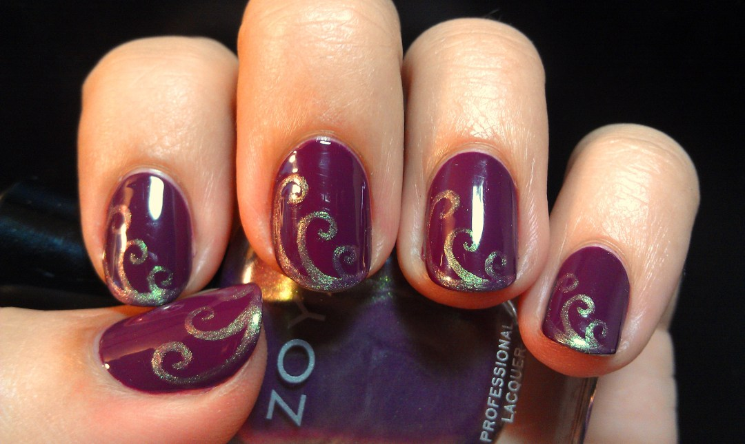 Purple Swirls Zoya Nail Art Duochrome